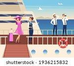 captain on the sea ship. sailor ... | Shutterstock . vector #1936215832
