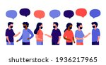 meeting of group of people with ... | Shutterstock .eps vector #1936217965
