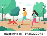 man and woman jogging in the... | Shutterstock .eps vector #1936222078
