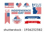 4th of july set in flat style.... | Shutterstock .eps vector #1936252582