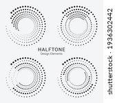 halftone logo set. circular... | Shutterstock .eps vector #1936302442