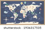 the world map with cartoon... | Shutterstock .eps vector #1936317535