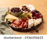 charcuterie board with jamon ...   Shutterstock . vector #1936350625