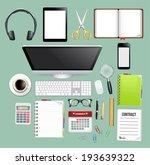 workspace top view | Shutterstock .eps vector #193639322