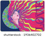 art nouveua style psychedelic... | Shutterstock .eps vector #1936402702