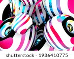 3d Render With Abstract Art Of...