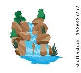 cartoon river waterfall.... | Shutterstock .eps vector #1936435252