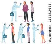 doctors measuring temperature...   Shutterstock .eps vector #1936519585