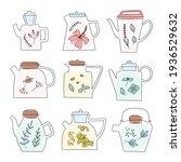 herbal tea glass teapot set.... | Shutterstock .eps vector #1936529632