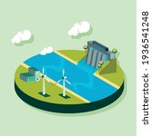 ecological system dam with mills   Shutterstock .eps vector #1936541248