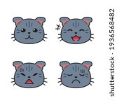 set of cute cat faces showing... | Shutterstock .eps vector #1936568482