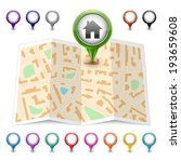 vector map icon. map markers | Shutterstock .eps vector #193659608
