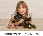 beautiful girl and two dogs | Shutterstock . vector #193663226