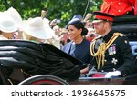 Small photo of Meghan Markle Prince Harry stock, London uk, 8 June 2019- Meghan Markle Prince Harry Trooping the colour Meghan smiling Royal Family Buckingham Palace stock Press photo photograph, image, picture