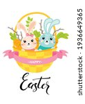 happy easter card. basket with...   Shutterstock .eps vector #1936649365