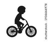 cute boy riding bike silhouette....   Shutterstock .eps vector #1936666978