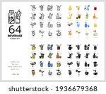 64 beverage icons set vector...   Shutterstock .eps vector #1936679368