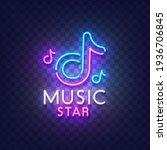 music neon sign. glowing neon...   Shutterstock .eps vector #1936706845