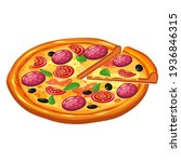 pizza isometric with slice and... | Shutterstock .eps vector #1936846315