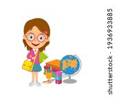 cute cartoon girl stand with...   Shutterstock .eps vector #1936933885