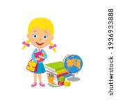 cute cartoon girl stand with...   Shutterstock .eps vector #1936933888