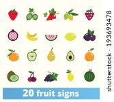 fruit icons  vector set of flat ... | Shutterstock .eps vector #193693478