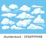cartoon clouds isolated on blue ... | Shutterstock .eps vector #1936959448