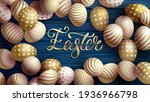 easter egg with gold pattern.... | Shutterstock .eps vector #1936966798