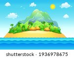 vector island with sea and sun. ... | Shutterstock .eps vector #1936978675