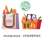 shopping bags and baskets flat... | Shutterstock .eps vector #1936989565