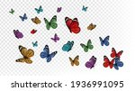 flying butterflies. colorful... | Shutterstock . vector #1936991095