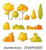 garden yellow bush. vector set... | Shutterstock .eps vector #1936992805