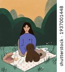 Young Brunette Girl With A Dog...