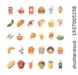fast food icon. junk food trash ... | Shutterstock . vector #1937005258