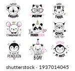 doodle animals vector set. owl  ... | Shutterstock .eps vector #1937014045