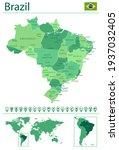 brazil detailed map and flag.... | Shutterstock .eps vector #1937032405