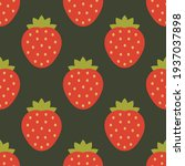 strawberries pattern on dark... | Shutterstock .eps vector #1937037898