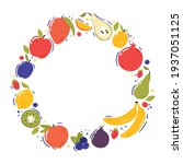fruits in a round frame.... | Shutterstock .eps vector #1937051125