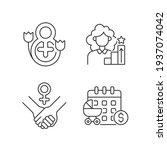 feminism linear icons set. girl ...   Shutterstock .eps vector #1937074042