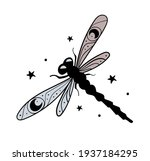 dragonfly hand drawing with... | Shutterstock .eps vector #1937184295