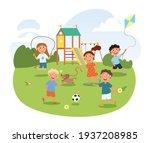 cute little children are... | Shutterstock .eps vector #1937208985