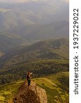 Small photo of Young boy, tourist, portrait photos of a guy in the Carpathian mountains, picturesque and impressive Ukrainian Carpathians, view from the mountain Pip Ivan Chornohirsky.2020