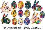 colorful collection with easter ...   Shutterstock .eps vector #1937233528