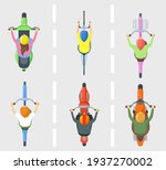 top view of people on bicycles... | Shutterstock .eps vector #1937270002