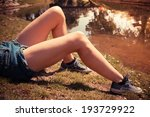 a young woman is lying on the... | Shutterstock . vector #193729922