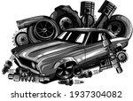 monochromatic vintage car... | Shutterstock .eps vector #1937304082