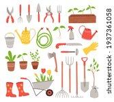 set of gardening items in hand...   Shutterstock .eps vector #1937361058