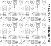 seamless pattern with icons on... | Shutterstock . vector #1937379592