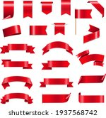 silk red ribbons and tags white ... | Shutterstock .eps vector #1937568742