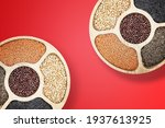 mix of legumes in wood bowl... | Shutterstock . vector #1937613925